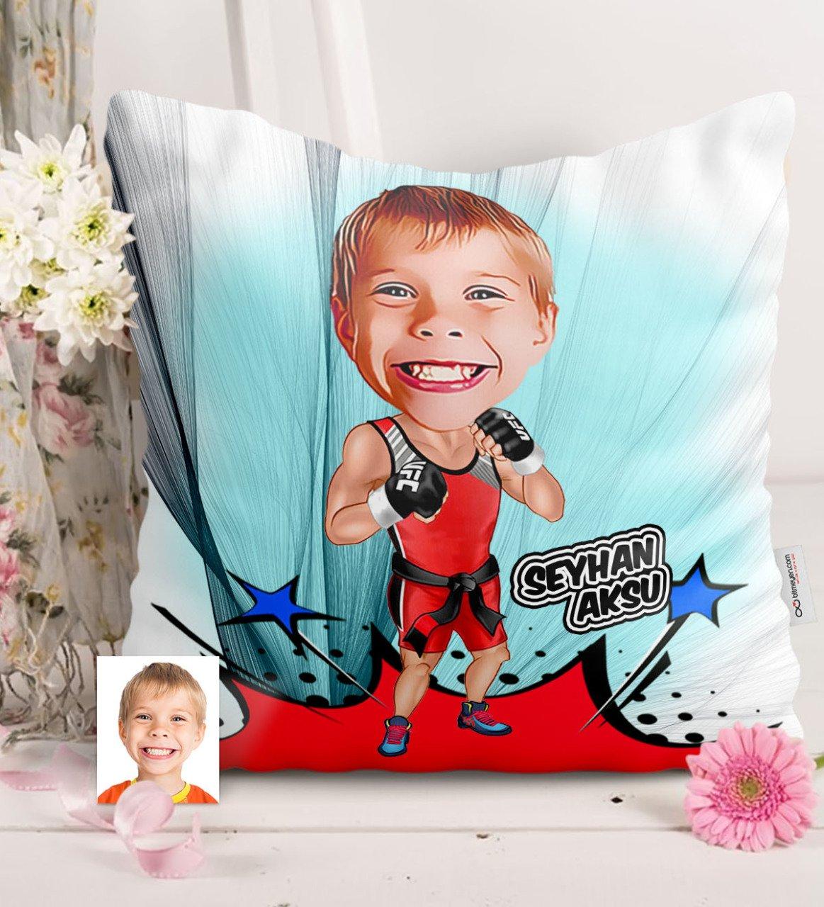 وسادة ساتان شخصية لملاكمة الركل للأطفال, وسادة من الحرير