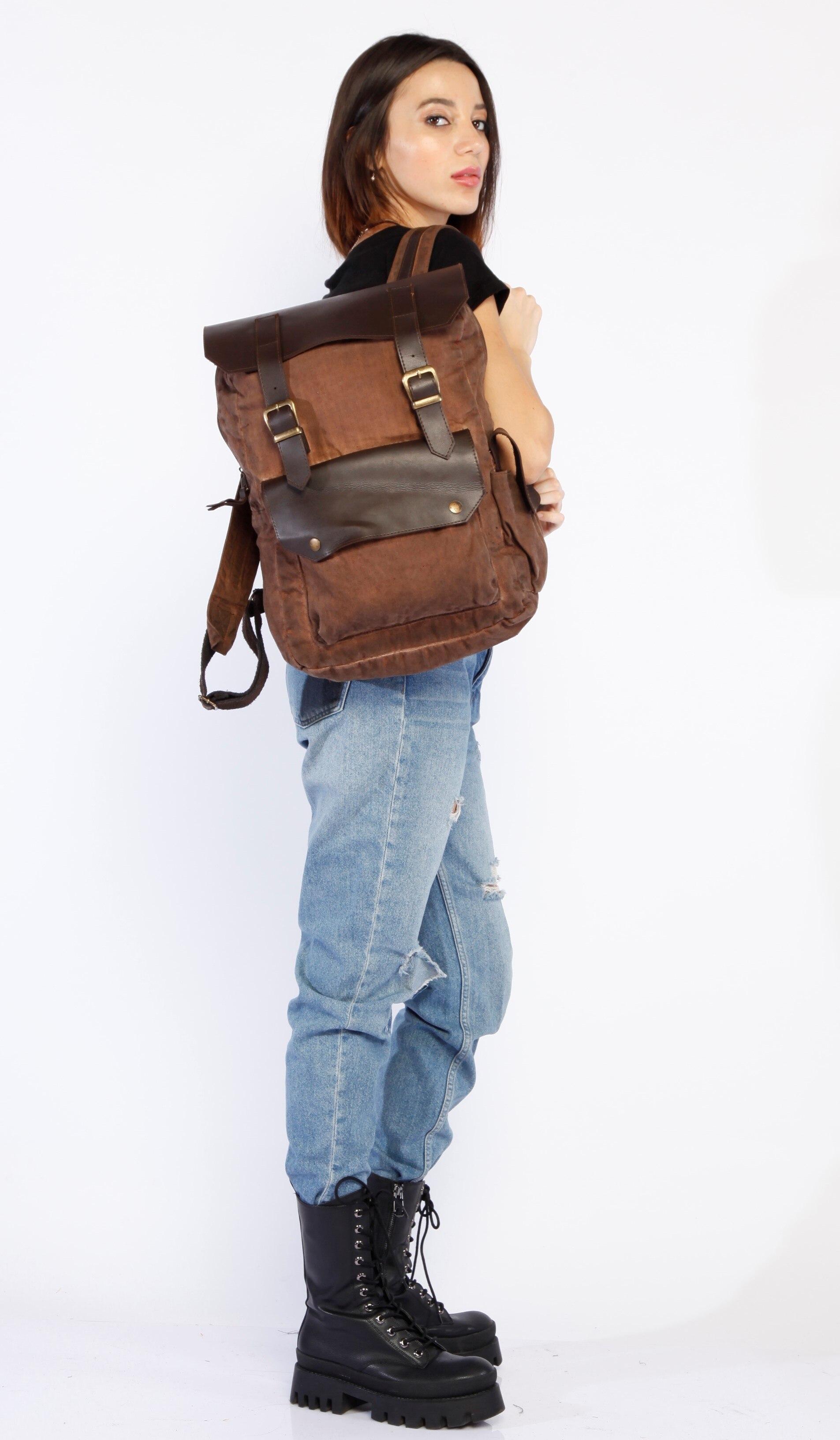 جديد متعدد الوظائف موضة الرجال على ظهره حقيبة من القماش خمر حقيبة مدرسية جلدية محايدة المحمولة حقائب السفر مقاومة للاهتراء