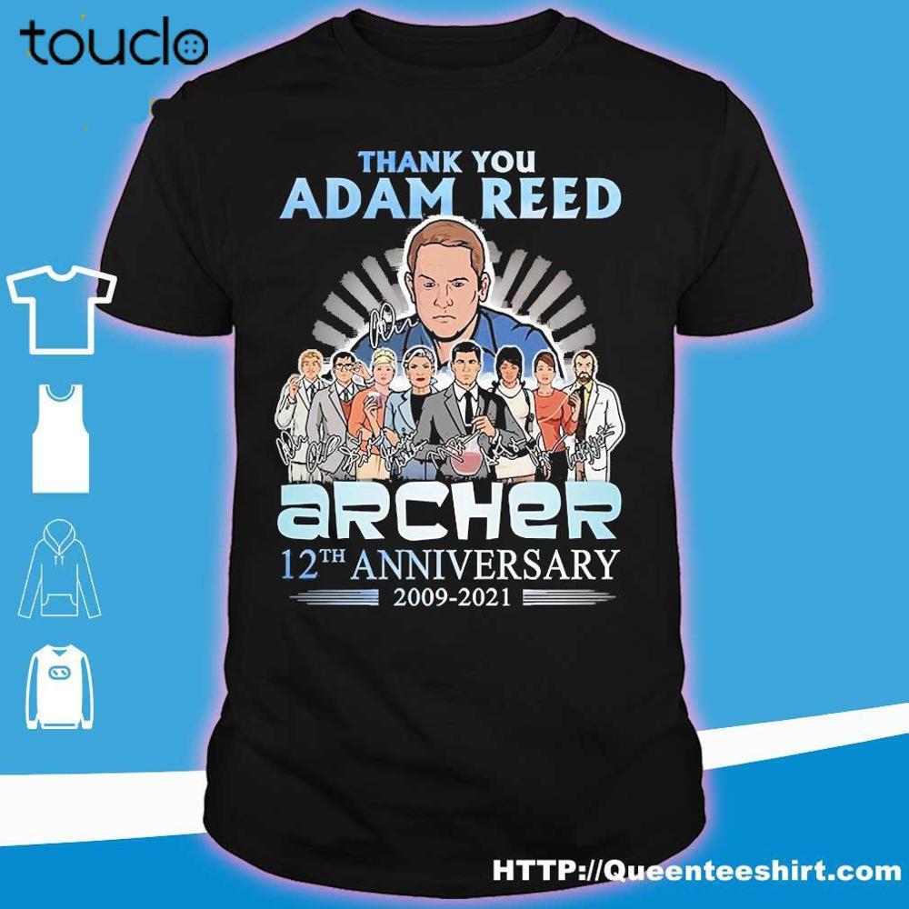 Obrigado adam reed archer 12th anniversary 2009 2021 camiseta preta masculina