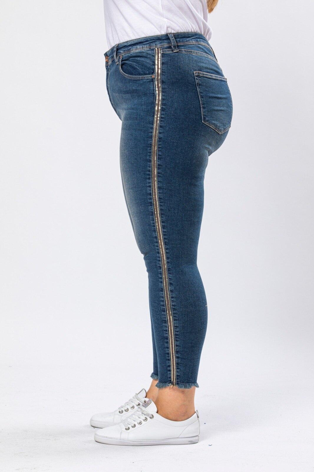 سراويل دينم ضيقة تفاصيل شريط جانبي بخصر مرتفع مقاسات كبيرة للسيدات من Diaves جينز أزرق جودة تركية موضة الصيف