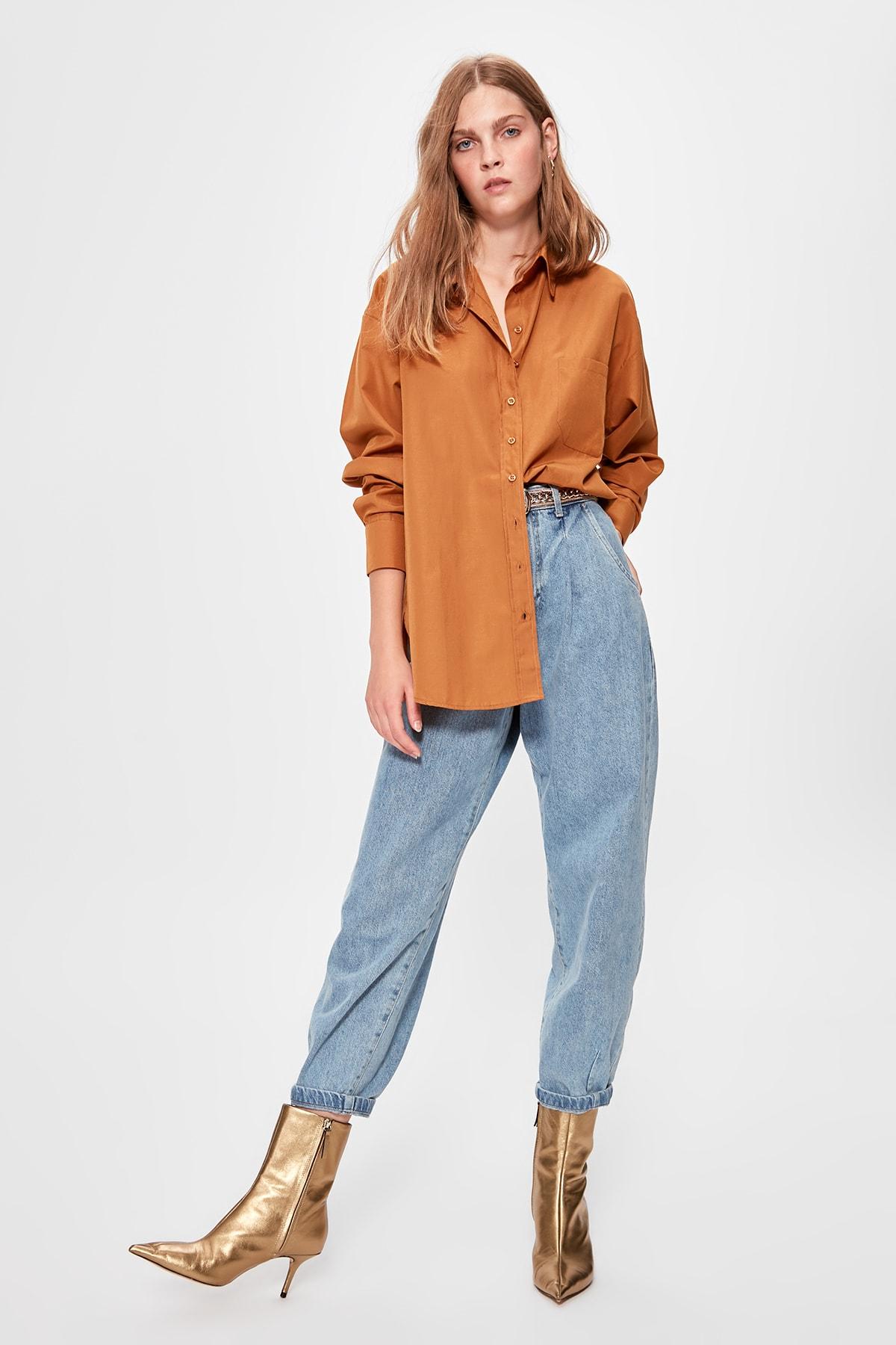 Trendyol camelo namorado camisa twoaw20go0115
