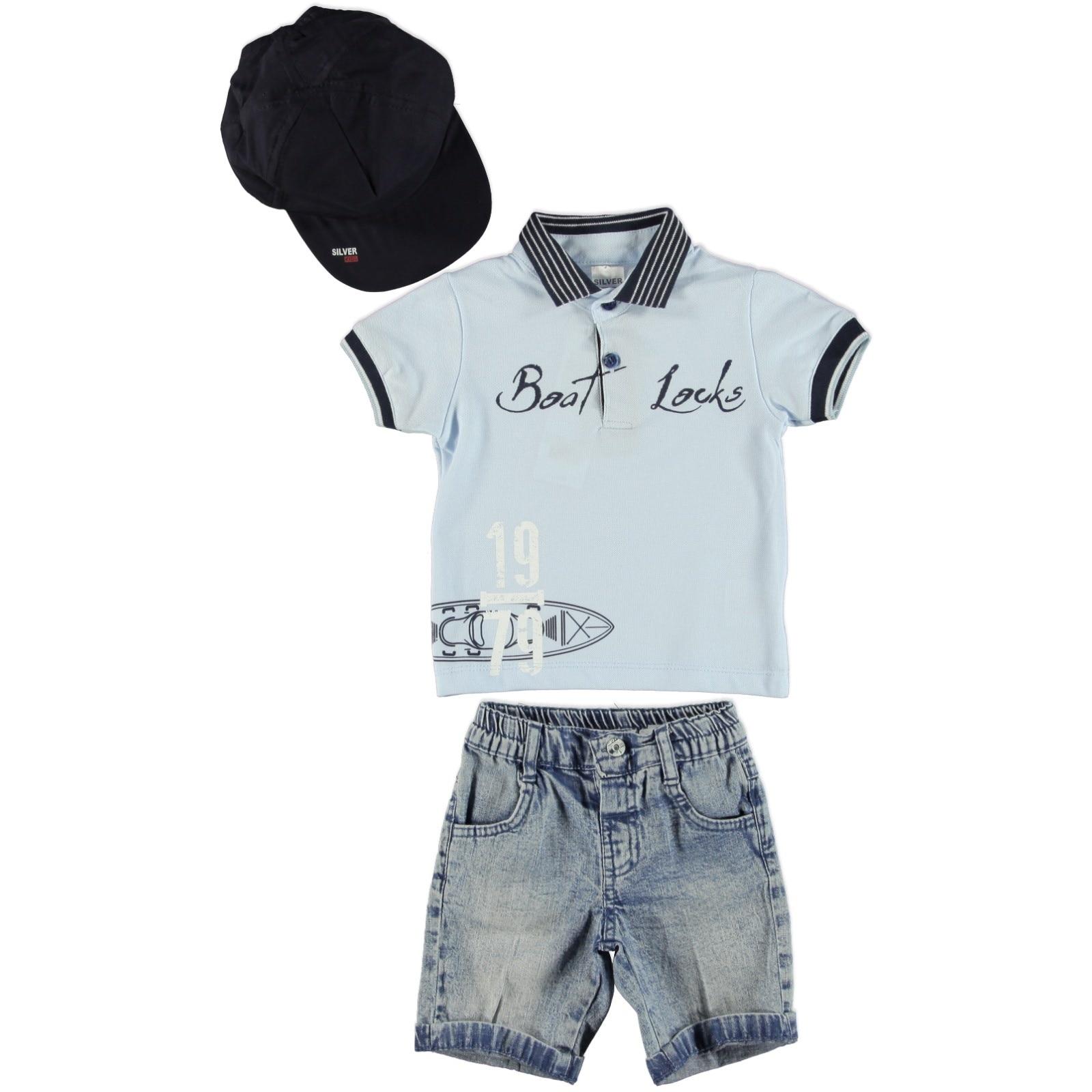Ebebek Bombili bebé bota cerraduras Polo Camiseta de cuello de Denim Set 3 uds