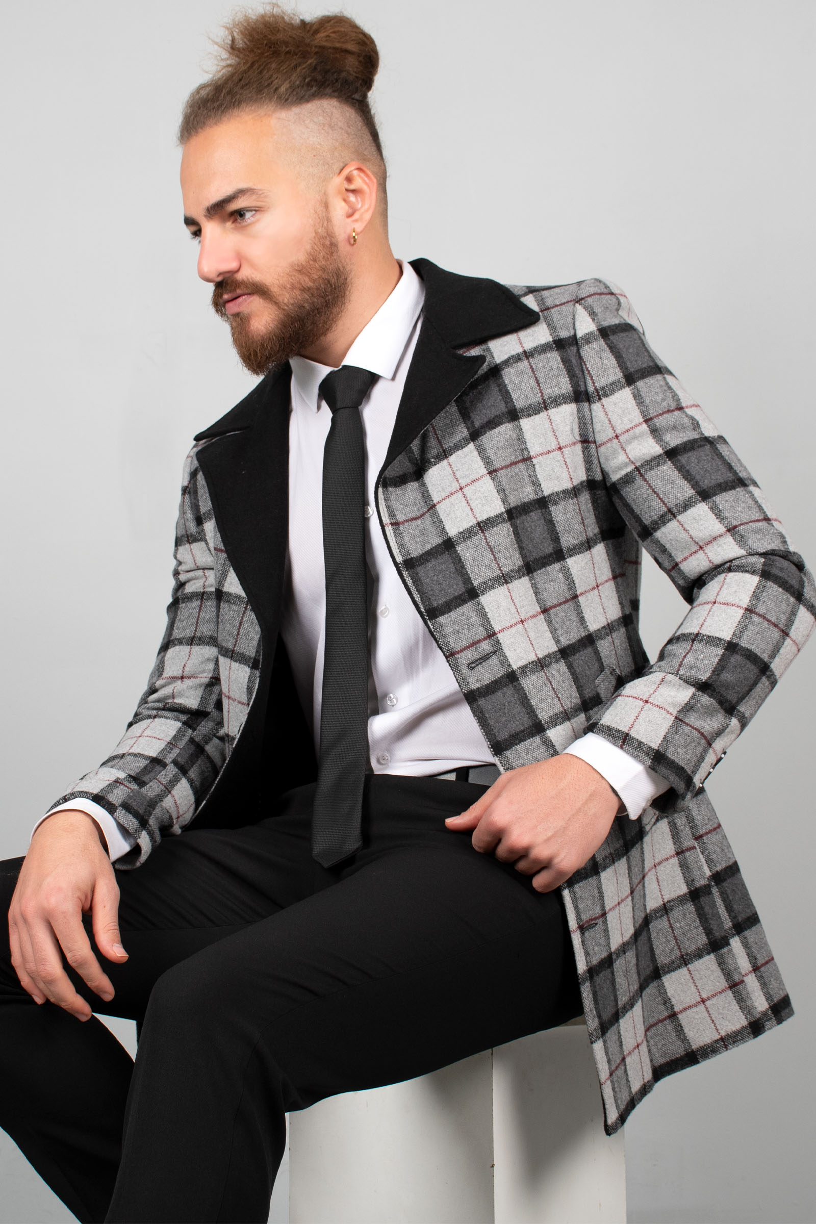 Deepsea cinza masculino de luxo esportes selo casaco casaco quadrado padrão apertado molde quente casual outono inverno estilo italiano longo casaco 1901857