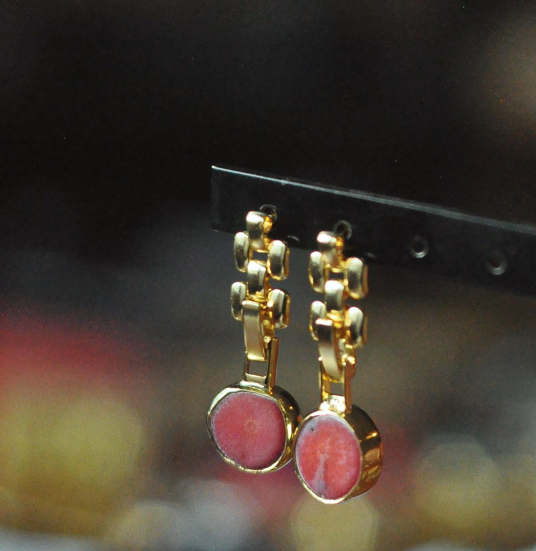 GULCE DERELI, أقراط مُزينة بحُلي جوهرة المرجان, أقراط للأذن على شكل سلسلة متميزة, صندوق هدايا, مطلية بالذهب/الفضة