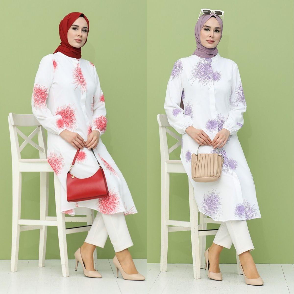 Patterned Tunic Polyester Fabric Cotton Hijap Hidden  Button  Unlined  Long Sleeve Shirt Collar Seasonal  Women  Muslim Fashihon