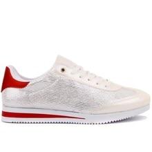 Moxee-baskets femme lacées blanc, rouge