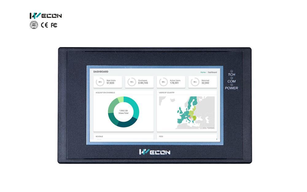 Panel HMI wocon LEVI-2043E tamaño pequeño para comunicarse con la mayoría de las marcas PLC