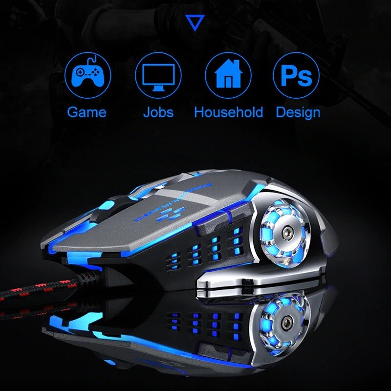 Wired Gaming Mouse USB Optical Gamer Mouse Ergonomic Mice 6 Buttons 3200DPI Computer Programmable Mo