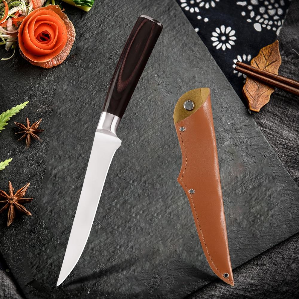 Adamaszek styl japoński 5.5 cal nóż do trybowania ze stali nierdzewnej kuchnia nóż filetowy Eviscerate ryby nóż rzeźbiarski prezent okładka