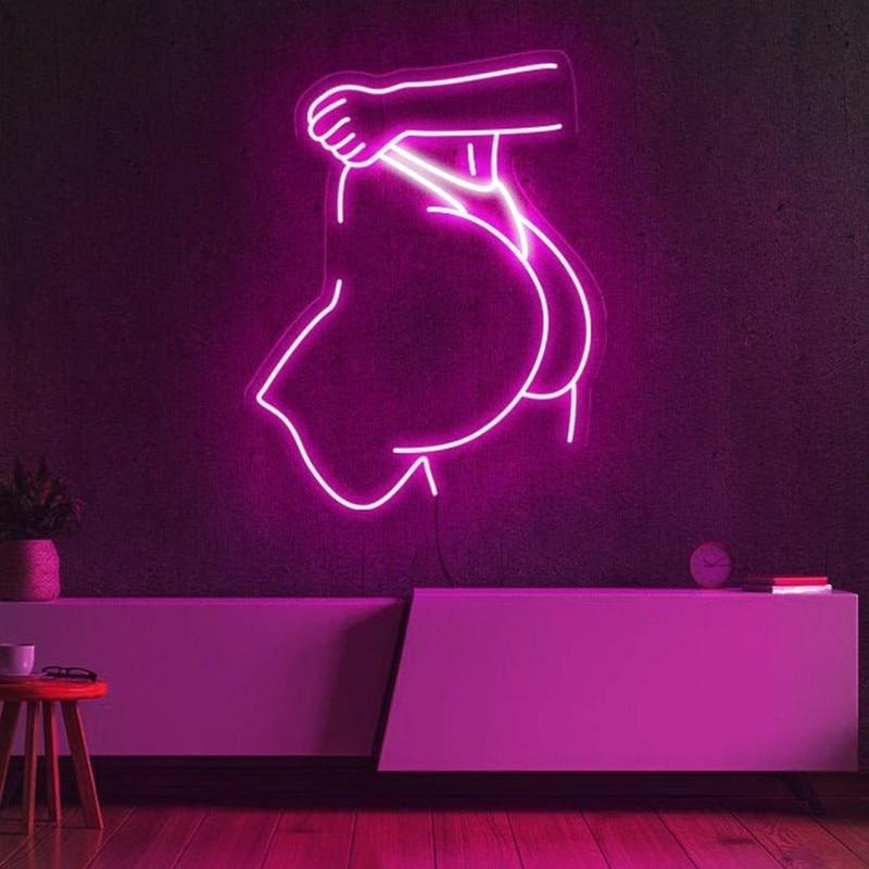 مثير الجسم النيون تسجيل الأرداف لافتة بإضاءة ليد قضيب معدني بصالة الجيم ديكور غرفة المنزل النيون علامات ضوئية جدار ديكور فني هدية