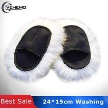 Vehemo gants de polissage en laine   Pattes Super longues en peau de mouton pour le lavage des voitures, gants de luxe
