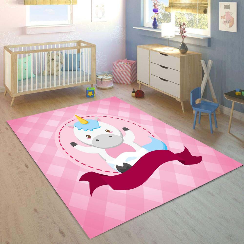 آخر الوردي الحلو يونيكورن الخيول ثلاثية الأبعاد طباعة عدم الانزلاق ستوكات الأطفال غرفة الاطفال ديكور منطقة البساط الاطفال حصيرة
