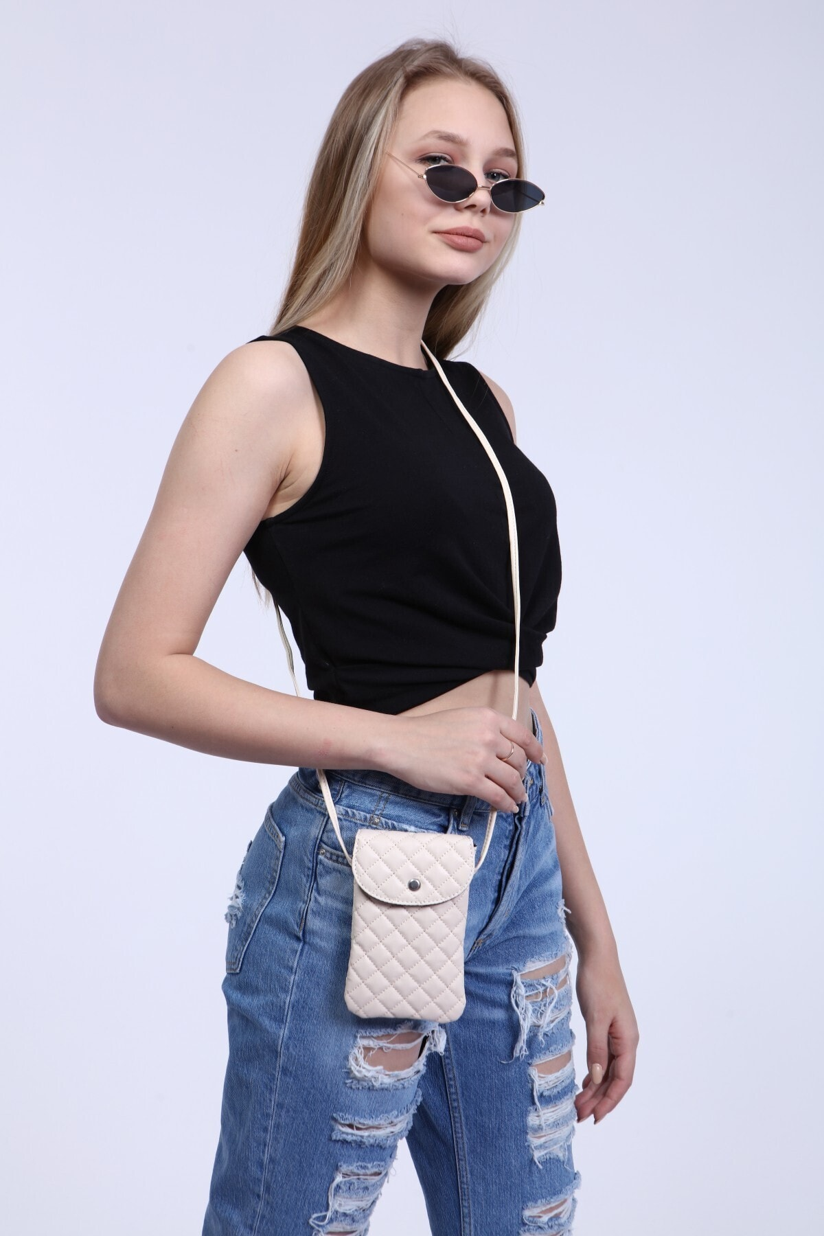 Cream for women Color Quilted Fabric, Strap Mobile Phone for Shoulder Bag