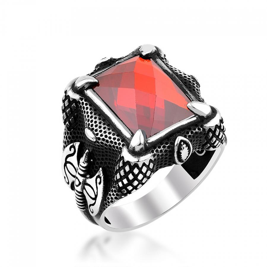 خاتم من الفضة الإسترليني والزركون للرجال ، خاتم ، فضة عيار 925 ، حجر كريم ، زركونيا ، زركون ، زركون ، زركون ، نمط فأس ، تركي ، عتيق ، هدية