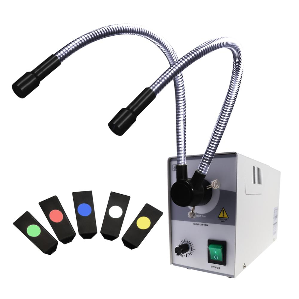 Nuevo diseño doble Metal tubo de fibra óptica halógena iluminador intercambiables iluminación de Color + cinco (5) filtros de Color