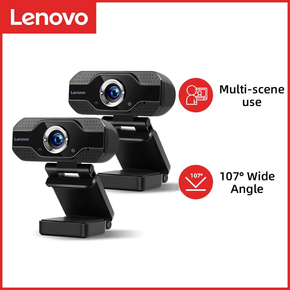 Lenovo1080P веб-камера Мини компьютер ПК веб-камера с микрофоном вращающиеся камеры для прямой трансляции видео вызова Конференции работы