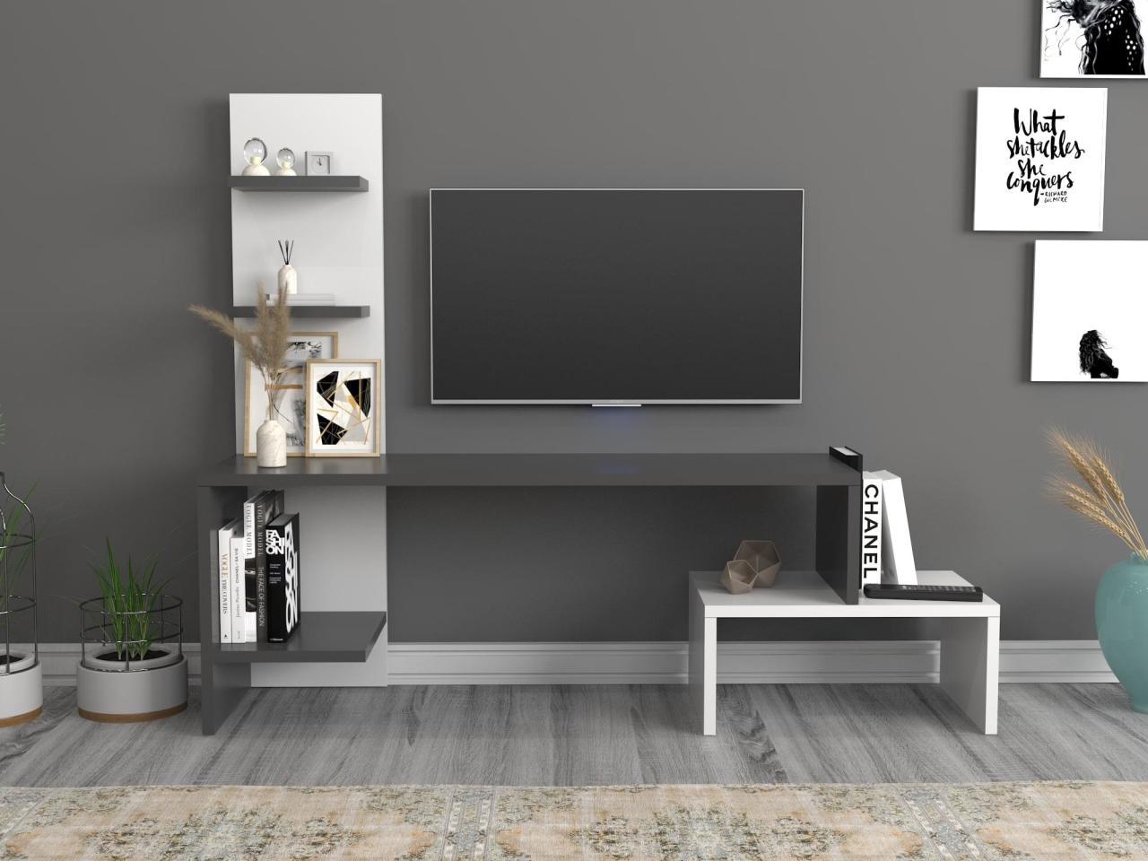 modern style cabinet cupboard matt body and glossy fronts led light living room furniture tv unit stand cabinets Home Furniture Tv Furniture Living Room Furniture TV Table TV Cabinet Sara Tv Stand Anthracite