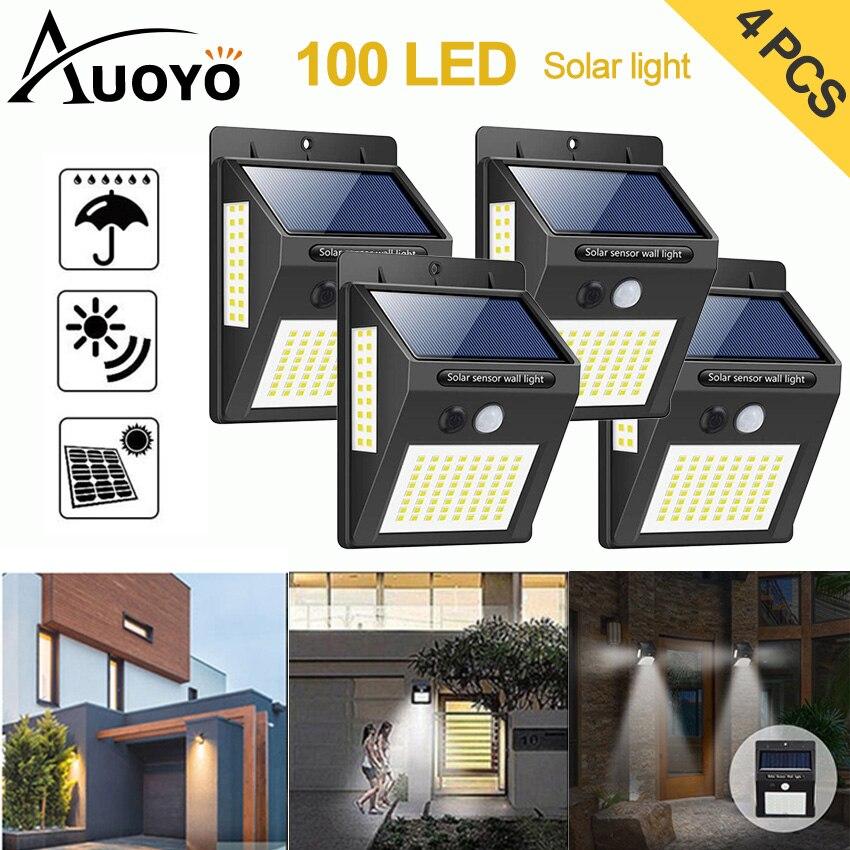 Auoyo 100 LED Solar Light Outdoor Solar Lamp PIR Motion Sensor Wandlamp Deck Lighting Wireless Security Waterproof IP65 Lights
