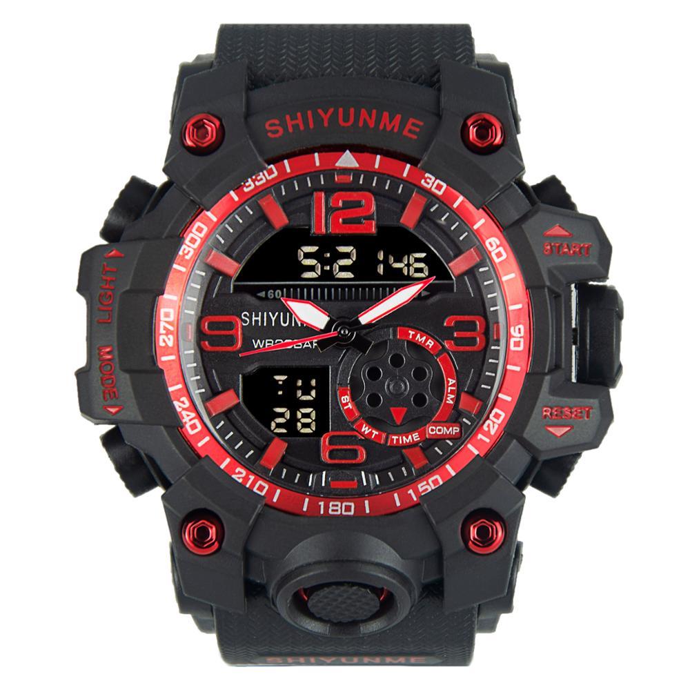 SHIYUNME Fashion Men Outdoor Sports Electronic Watch Personality Casual Waterproof LED Dual Display Luminous Watch часы мужские