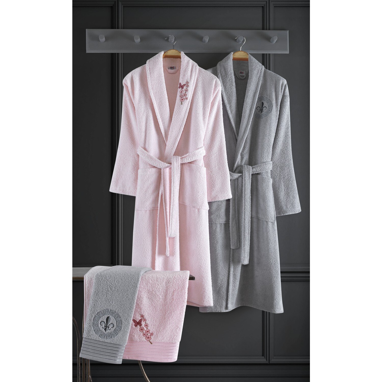 Delmy Embroidered Cotton 4 Piece Family Bathrobe Set Lilac-Gray Man Women Team 2021 Trend Fashion Textile Design Fabric silk Quality