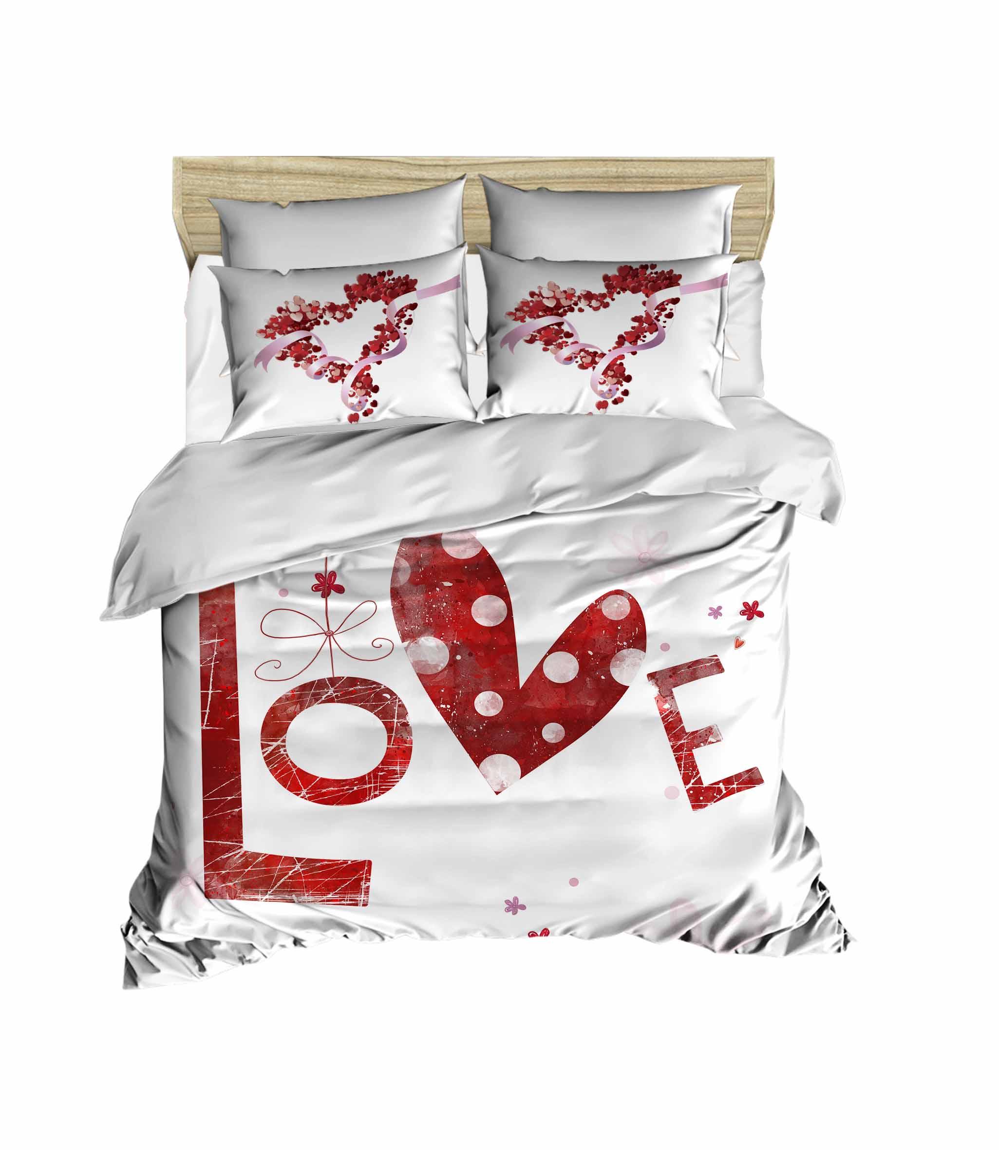100% القطن التركي الحب Beddding الحب تحت عنوان ثلاثية الأبعاد لحاف مطبوع مجموعة غطاء ، المحرز في تركيا