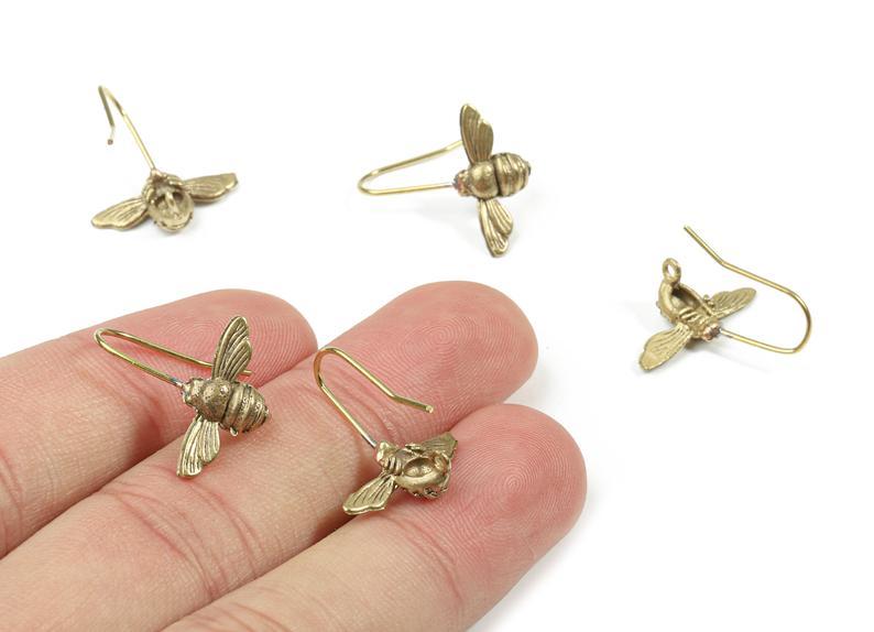 Gancho para arete de mariposa de latón, halcón de latón crudo, alambre para arete de polilla, suministros de joyería, 2 unidades por lote, 17x9,72x4,13mm, PP3202