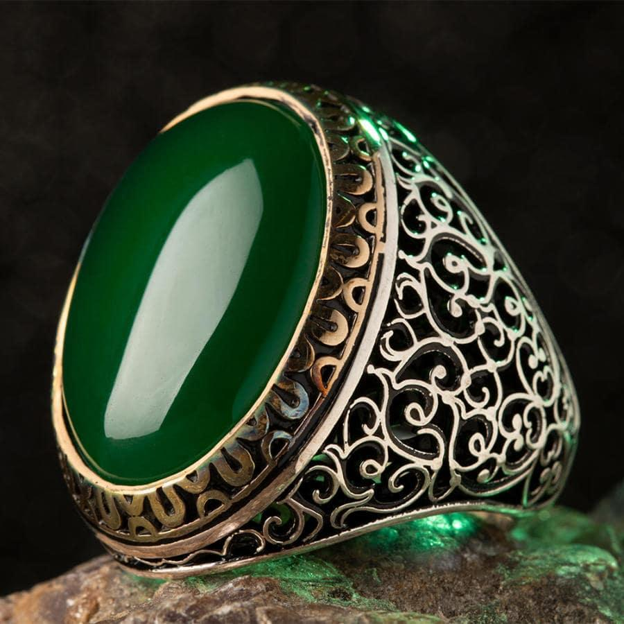 925 Sterling Sterling Silver Symmetrical Mens Ring with Green Agate Stone Fashion Turkish Premium Quality Handmade Jawelery