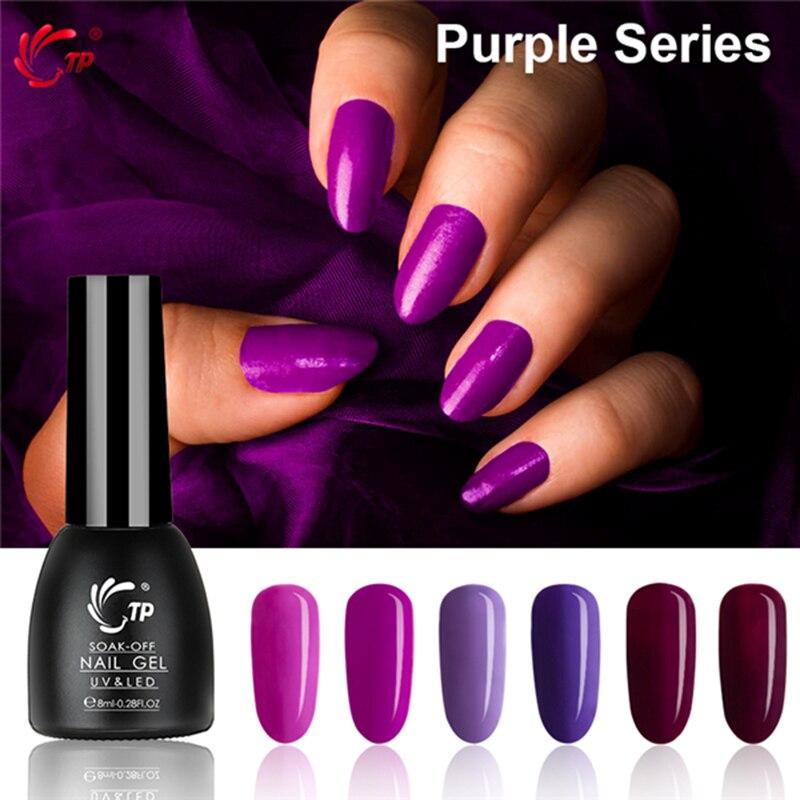 TP 8ml 0,28 oz Color púrpura serie uñas Gel UV polaco resina Soak Off LED lámpara Cure capa Base de imprimación manicura pedicura salón Decoración