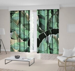 Curtain Banana Leaves Rustic Country Style Decorative Realistic Illustration Green Beige Black