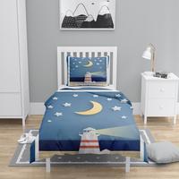 Else 4 Pcs Sea Light house Moon Stars Designs 3D Print Cotton Satin Chidren Kids Duvet Cover Bedding Set Pillow Case Bed Sheet