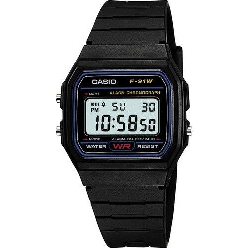 Reloj de pulsera Digital Casio F-91W-1DG para hombre, uso diario, negro Original