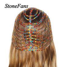 Stonefans Boho à la main coloré strass bandeau chaîne pour les femmes Bling cristal mariée tête chaîne indien bijoux de mariage