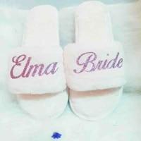personalized bride slipper future mrs honeymoon your name bachelorette fluffy sleepover spa luxury wedding bridesmaid gift