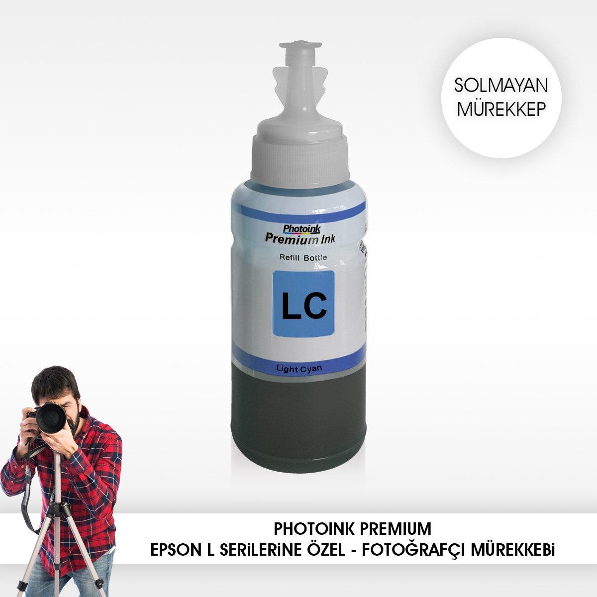 Epson, compatible con 70 ml, tinta azul claro sin decoloración (6 colores para impresoras) -L800/L805/L810/L850/L1300/L1800/l382/l386/l455/1455