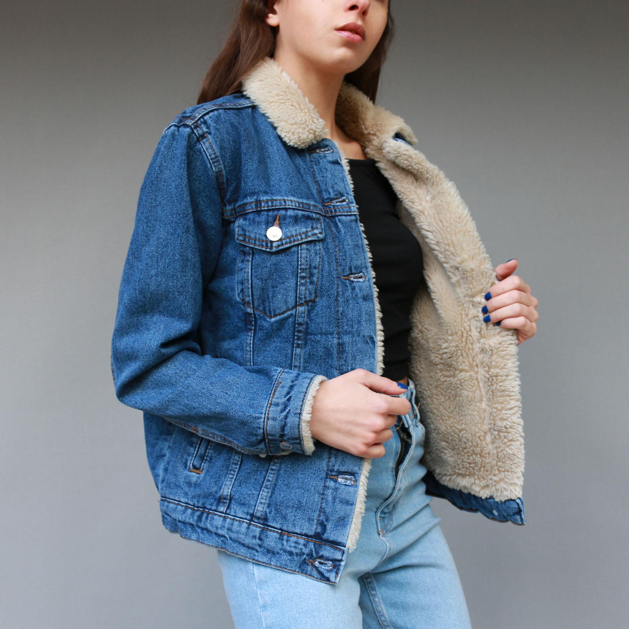 ربيع الخريف المرأة الدنيم سترة الفراء طوق سميكة جان ملابس خارجية معطف طويل الأكمام مبطن امبسوول أنيقة موضة
