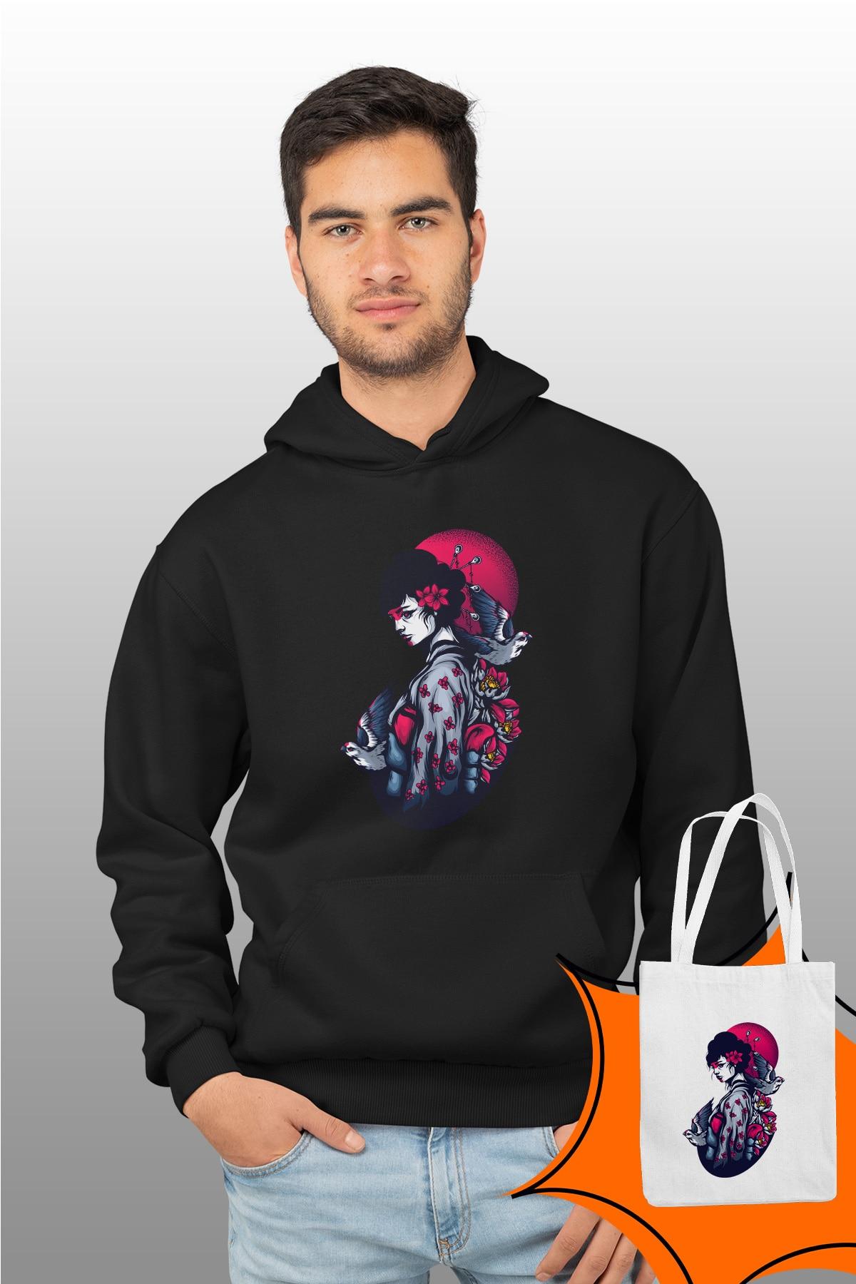 Angemiel Wear Geisha negro hombre Sudadera con capucha bolsas Kombin