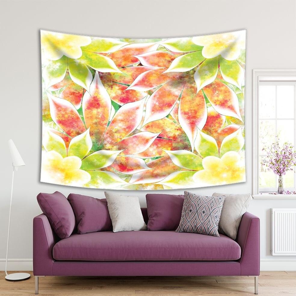 Tapiz de flores, hojas, follaje, naturaleza exótica, en colores neón, Obra de Arte Moderna, Lima, verde, amarillo, blanco