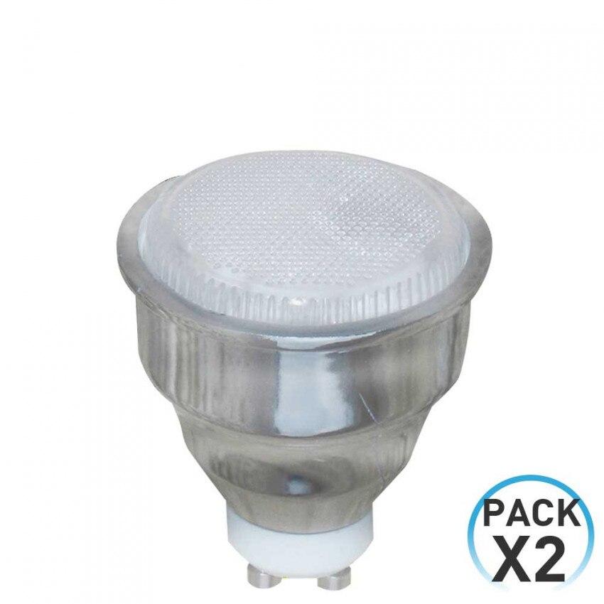 Pacote 2 lâmpadas cfl baixo consumo spotlight gu10 9w 400lm 2700k 7hdayron