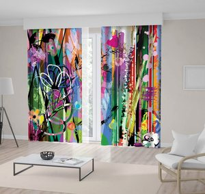 Curtain Modern Artwork with Flowers Strokes Splashes Decorative Fun Green Blue Fuchsia Black Floral Print