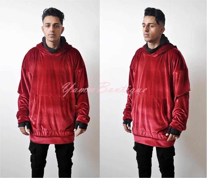 2020 Men's 90s Premium Quality Sily Velour Velvet Vanta Dark Black Oversized Hoodie / Raw Edges Sweater FOG Kanye Crew Neck / Sw