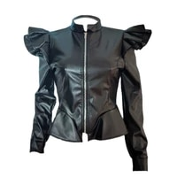 haoohu pu faux leather jacket women fall winter clothes plus size coat top ladies oversized long sleeve sexy cropped jackets