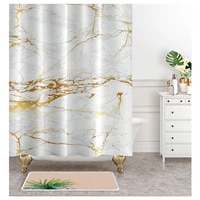 nordic marble pattern free perforated shower room with thickened curtain and dry bath separation