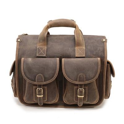 جديد الرجال حقيقية حقائب يد جلدية كبيرة حقيبة كمبيوتر محمول حقيبة ساع الأعمال حقائب السفر للرجال حقائب كتف براون حقيبة