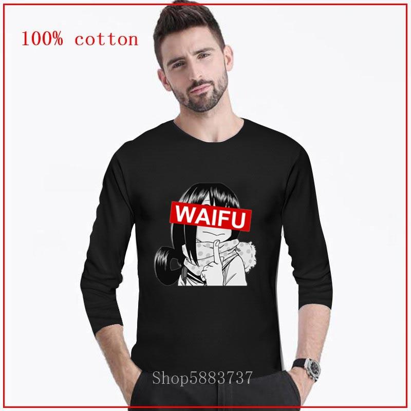 Divertida camiseta larga Tsuyu Asui Waifu para hombre, camiseta de Manga larga japonesa de Anime para hombre, camisetas Harajuku Geek de algodón, camiseta largos de moda