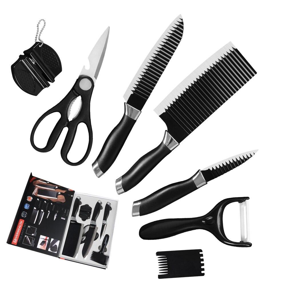 7 ، 8 قطعة الفولاذ المقاوم للصدأ سكاكين المطبخ مجموعة مطبخ ملاعق السكاكين سكين التقطيع مع هدية مربع أسود/الأخضر/الأحمر سكين مجموعة