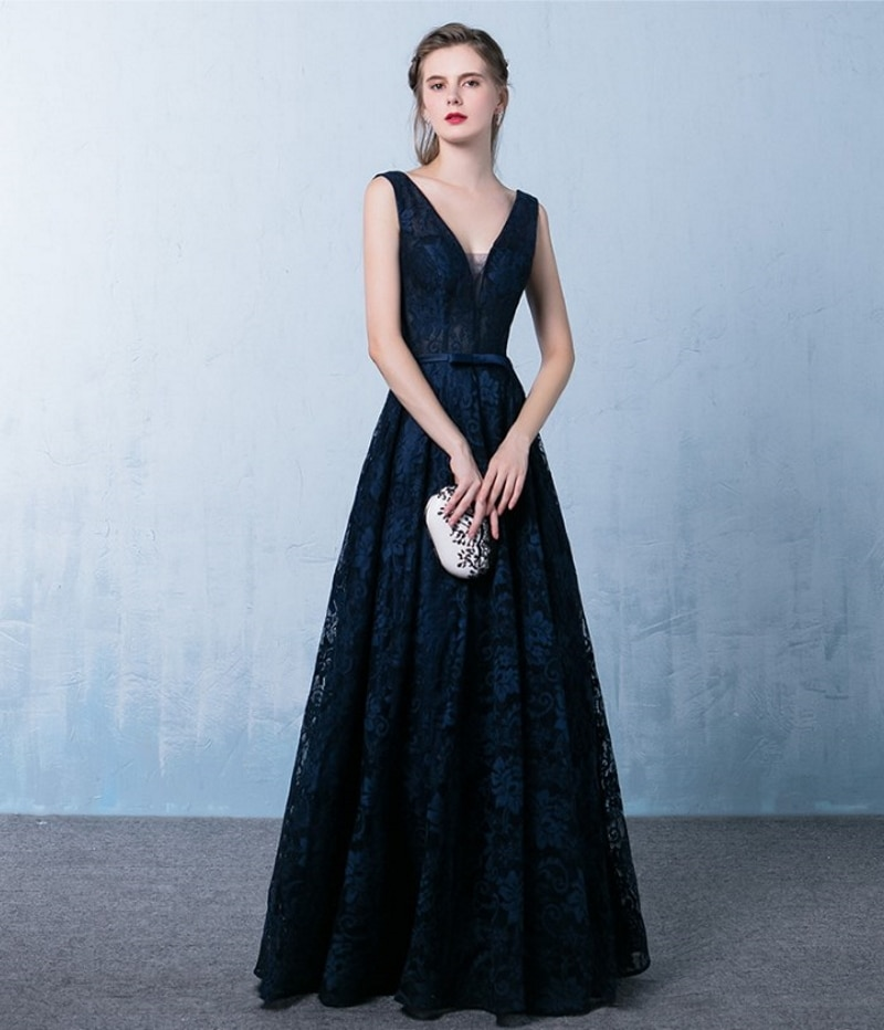 9635# Sleeveless V-Neck Floor Length Backless Lace Bridesmaid Dress Evening Dress for Ladies' Party Dress