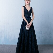 9635# Sleeveless V-Neck Floor Length Backless Lace Bridesmaid Dress Evening Dress for Ladies' Party