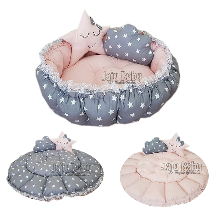 Jaju Baby Gray Star Resealable Play Mat Baby Nest Maternal Side, Baby Sunbed, Baby Play Mat