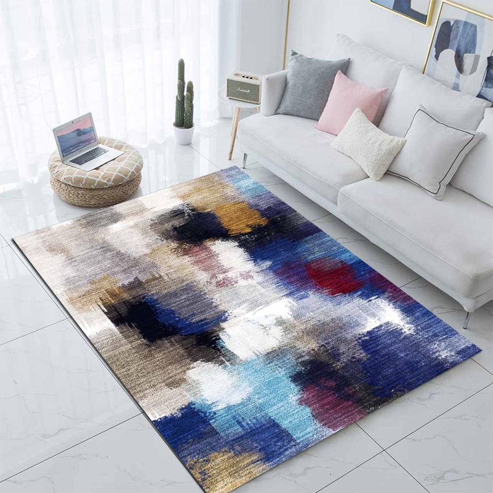 سجادة غرفة المعيشة من الألياف الدقيقة غير قابلة للانزلاق ، مطبوعة ثلاثية الأبعاد بالألوان المائية ، حديثة ، قابلة للغسل ، أزرق ، أسود ، رمادي