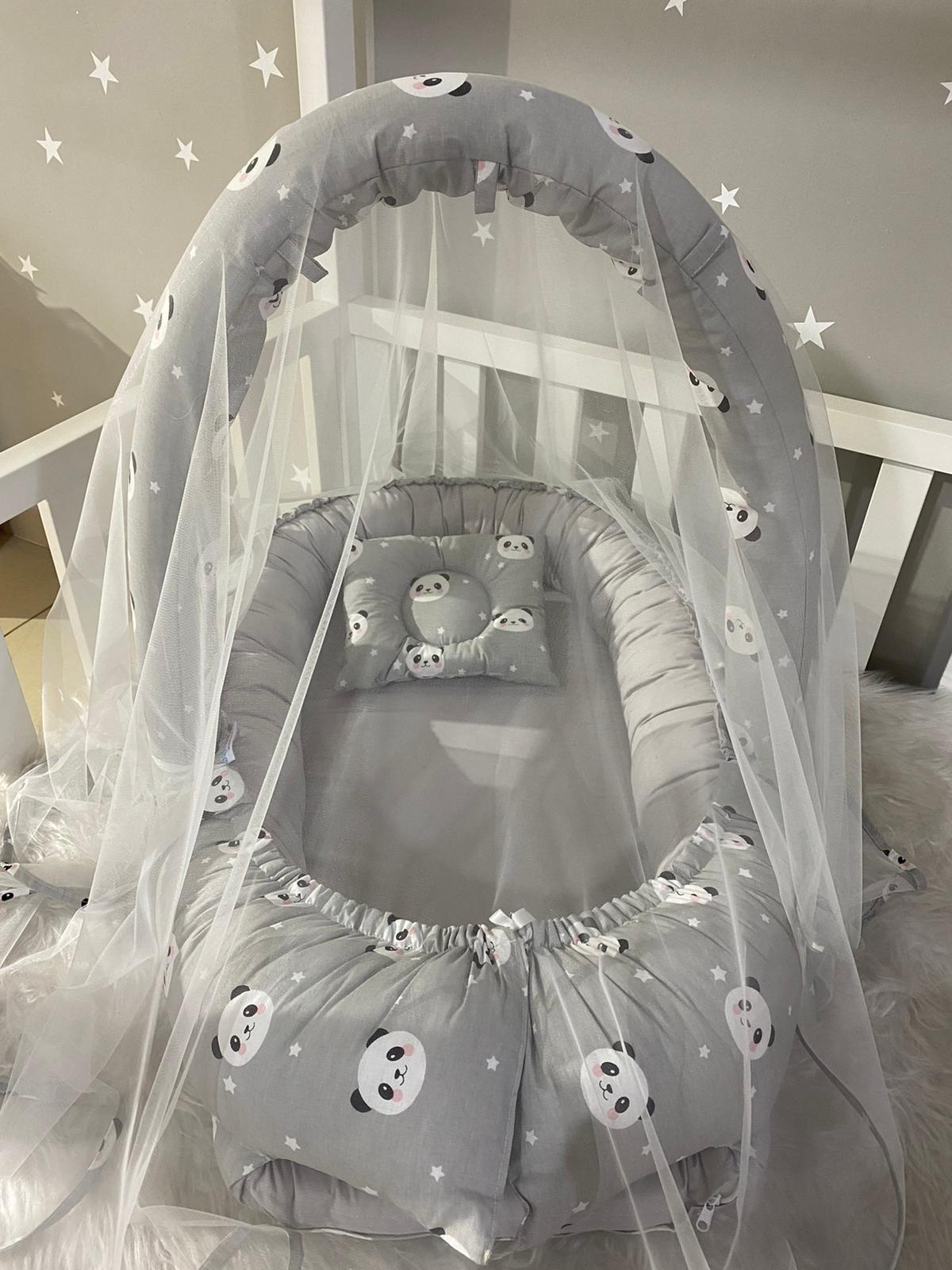 Jaju Baby Handmade Gray Panda Mosquito Net and Toy Hanger Luxury Design Babynest